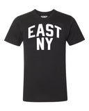 Black East New York Brooklyn T-shirt with White Reflective Letters