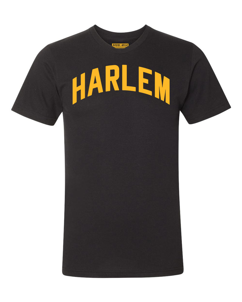 Black Harlem T-shirt with Yellow Reflective Letters #LemonPepper