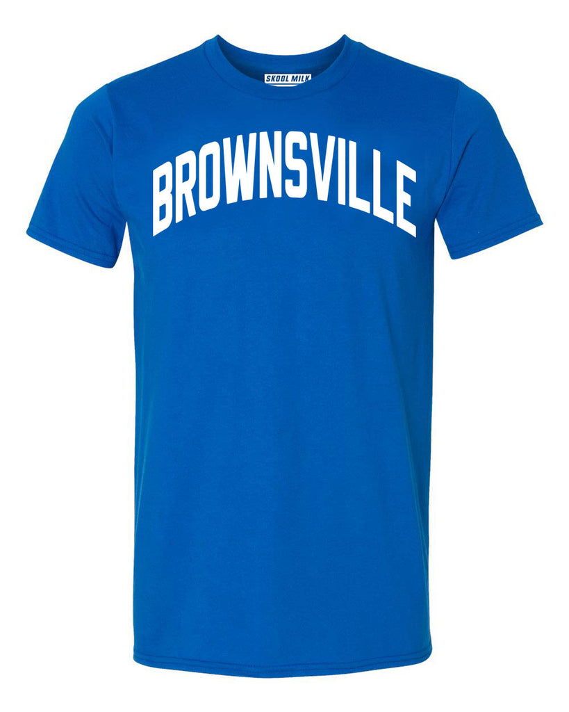 Blue Brownsville Brooklyn T-shirt with White Reflective Letters
