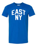 Blue East New York Brooklyn T-shirt with White Reflective Letters