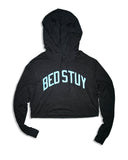 BedStuy Crop-Top Hoodie - Grey w/ Blue Reflective Letters