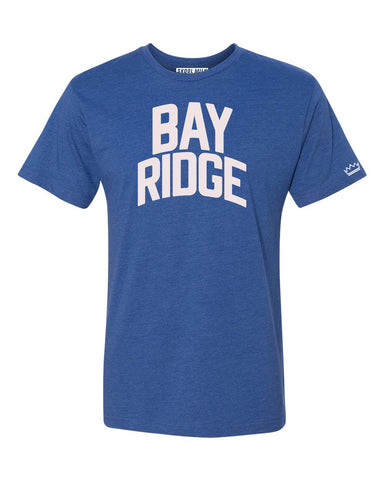 Blue Bay-Ridge Brooklyn T-shirt with White Reflective Letters