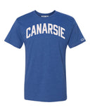 Blue Canarsie Brooklyn T-shirt with White Reflective Letters