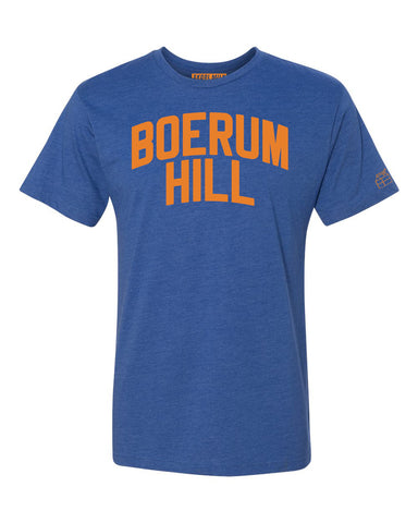Blue Boerum Hill T-shirt with Knicks Orange Letters