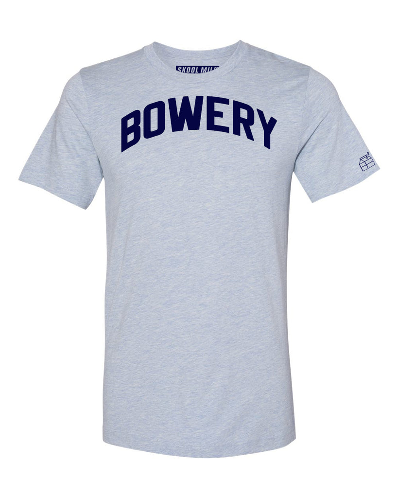 Sky Blue Bowery T-shirt with Blue Letters