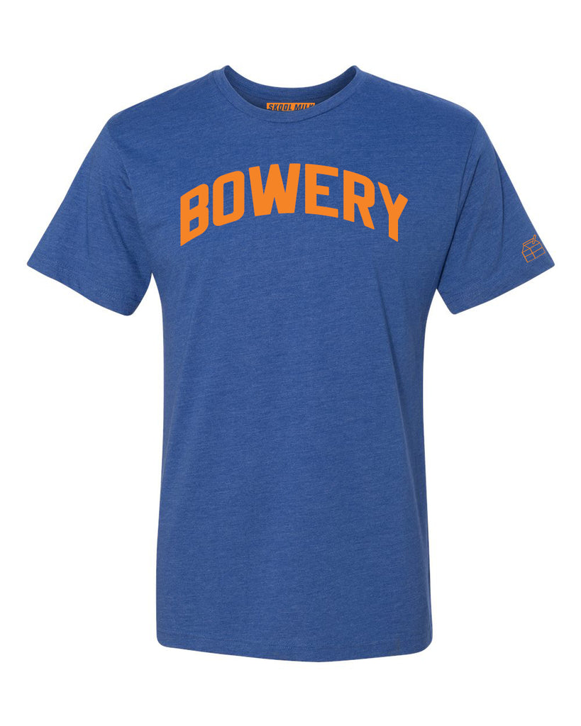 Blue Bowery T-shirt with Knicks Orange Letters