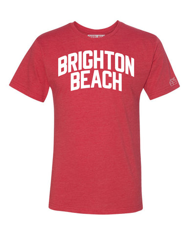 Red Brighton Beach T-shirt with White Reflective Letters