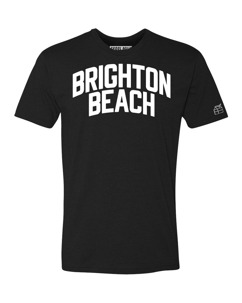 Black Brighton Beach T-shirt with White Reflective Letters
