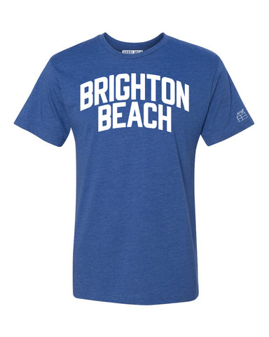 Blue Brighton Beach T-shirt with White Reflective Letters