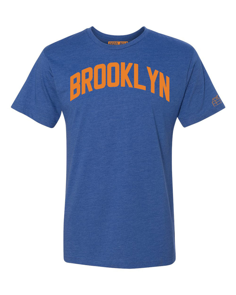 Blue Brooklyn T-shirt with Knicks Orange Letters