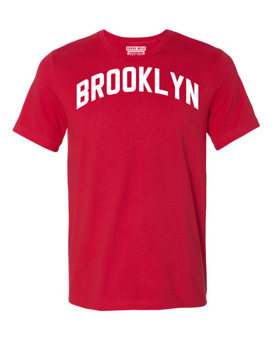 Red Brooklyn T-shirt with White Reflective Letters