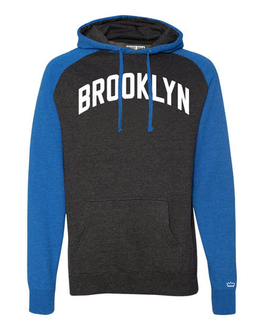 Blue/Grey Brooklyn Raglan Hoodie w/ White Reflective Letters