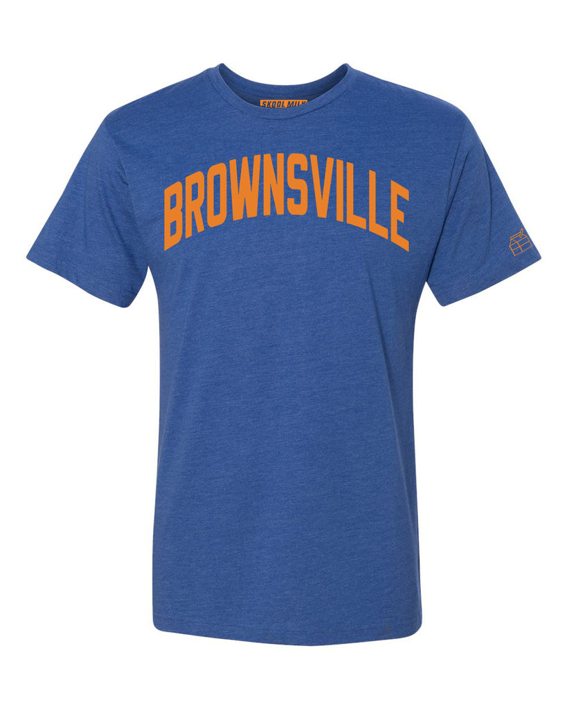 Blue Brownsville T-shirt with Knicks Orange Letters
