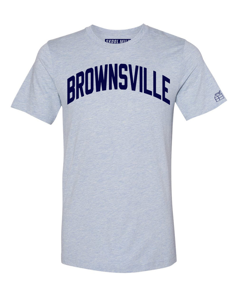 Sky Blue Brownsville T-shirt with Blue Letters