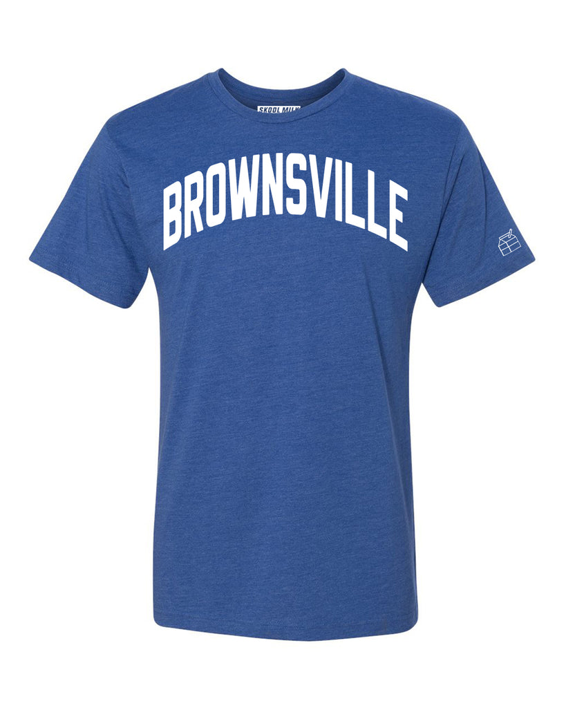 Blue Brownsville T-shirt with White Reflective Letters