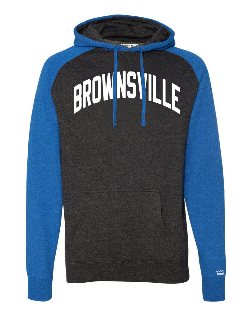 Blue/Grey Brownsville Brooklyn Raglan Hoodie w/ White Reflective Letters