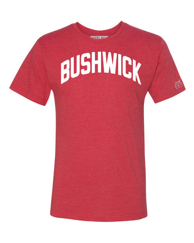 Red Bushwick T-shirt with White Reflective Letters