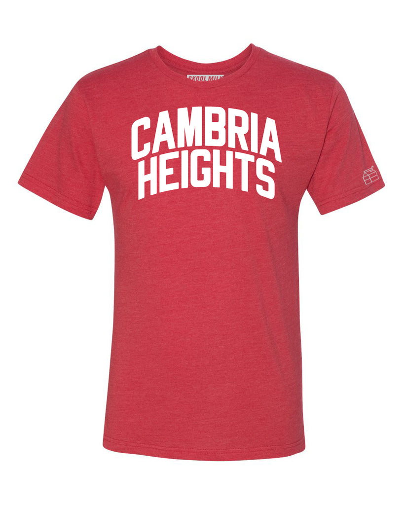 Red Cambria Heights T-shirt with White Reflective Letters