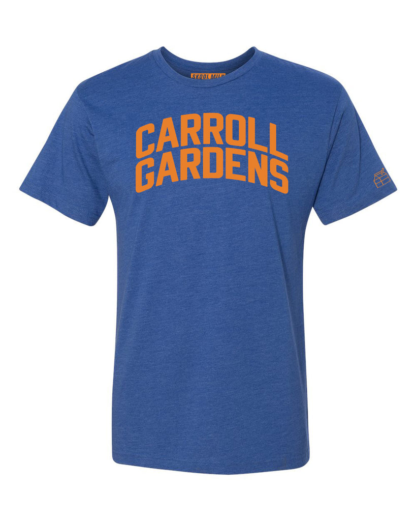 Blue Carroll Gardens T-shirt with Knicks Orange Letters