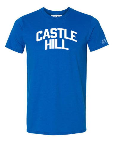 Blue Castle Hill T-shirt with White Reflective Letters