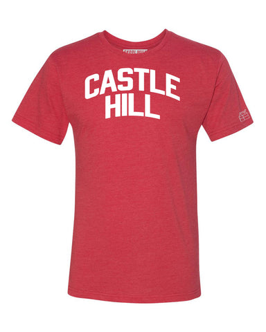 Red Castle Hill T-shirt with White Reflective Letters