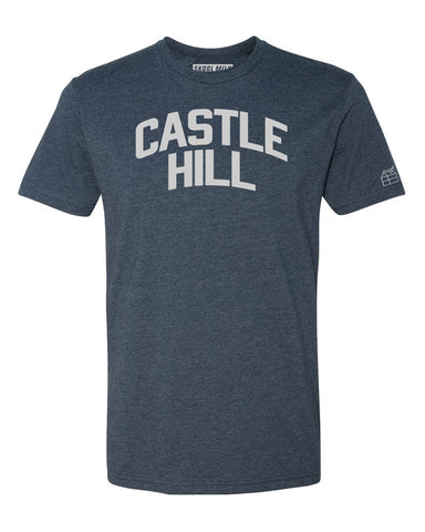 Navy Blue Castle Hill T-Shirt with Silver Letters