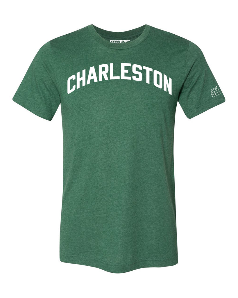 Green Charleston T-shirt with White Reflective Letters