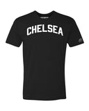 Black Chelsea T-shirt with White Reflective Letters