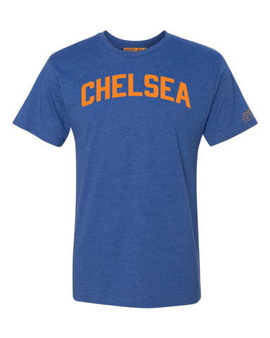 Blue Chelsea T-shirt with Knicks Orange Letters