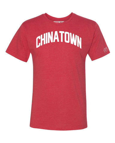 Red Chinatown T-shirt with White Reflective Letters