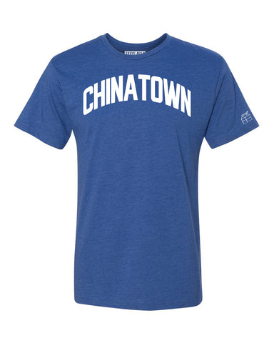 Blue Chinatown T-shirt with White Reflective Letters