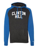 Blue/Grey Clinton Hill Brooklyn Raglan Hoodie w/ White Reflective Letters