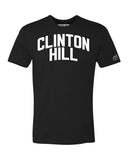 Black Clinton Hill T-shirt with White Reflective Letters
