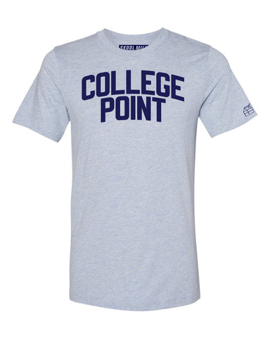 Sky Blue College Point T-shirt with Blue Letters