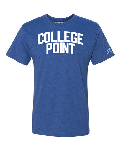 Blue College Point T-shirt with White Reflective Letters