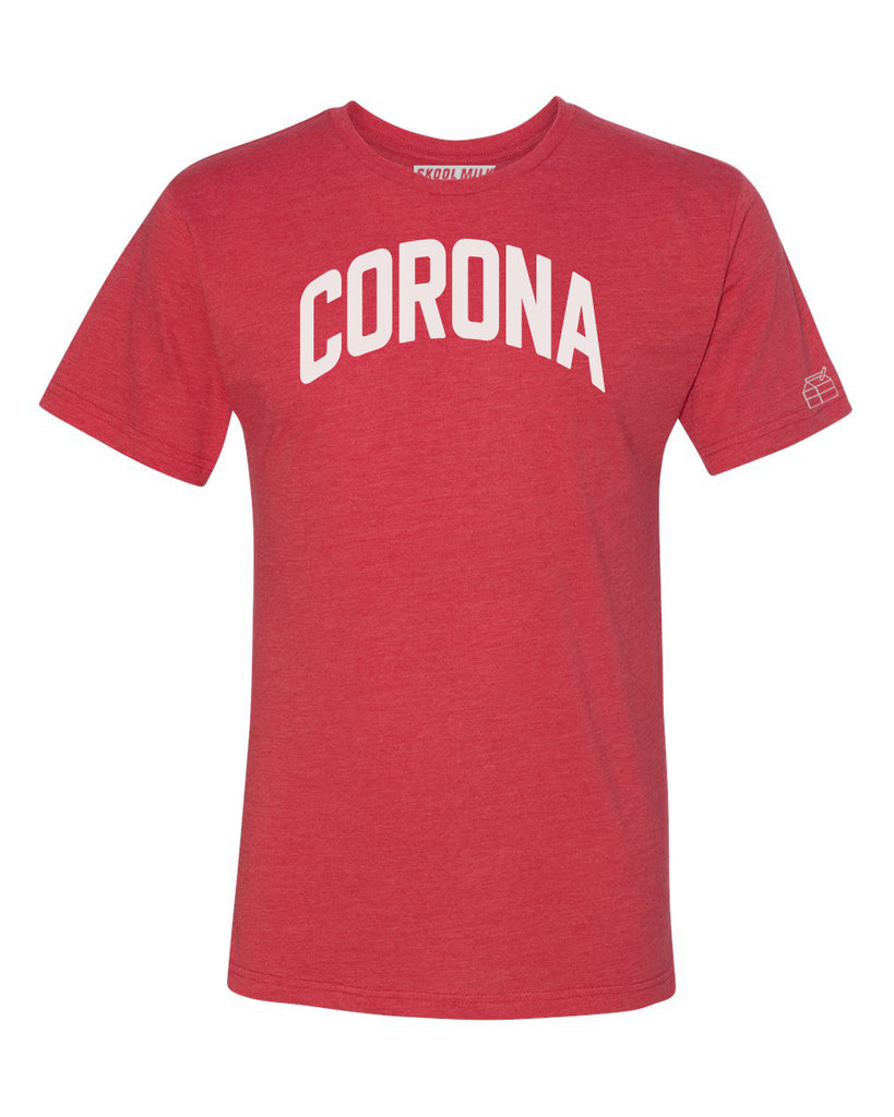 Red Corona T-shirt with White Reflective Letters