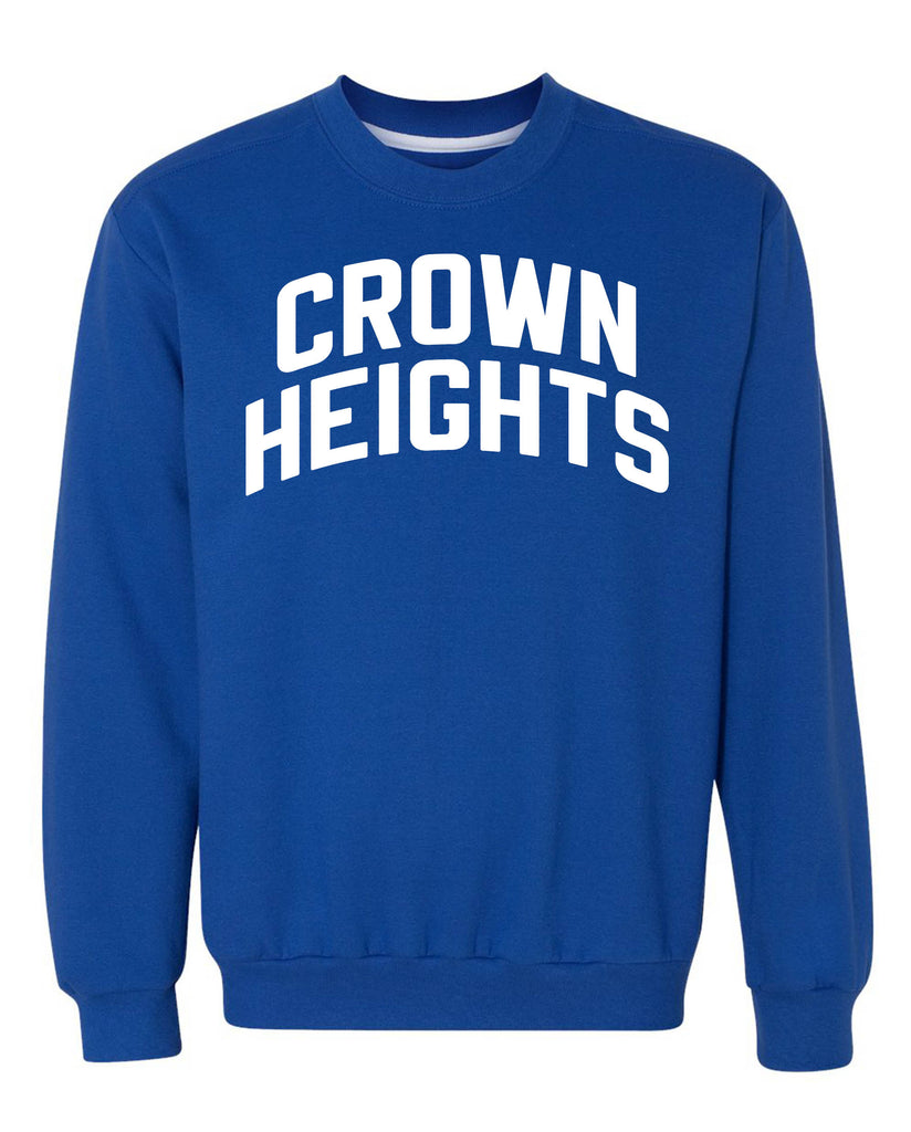 Blue Crown Heights Sweatshirt with White Reflective Letters