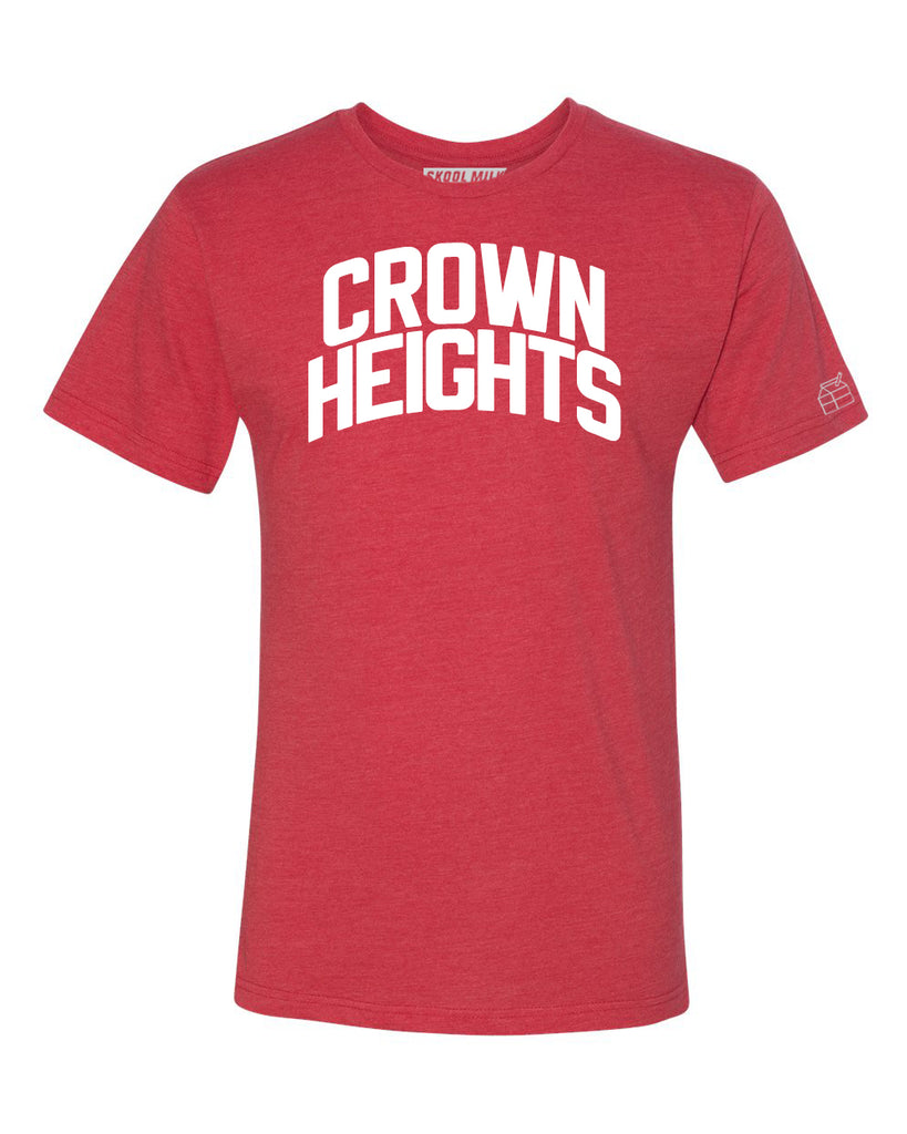 Red Crown Heights T-shirt with White Reflective Letters