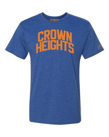 Blue Crown Heights T-shirt with Knicks Orange Letters