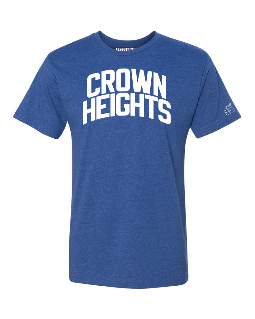 Blue Crown Heights T-shirt with White Reflective Letters
