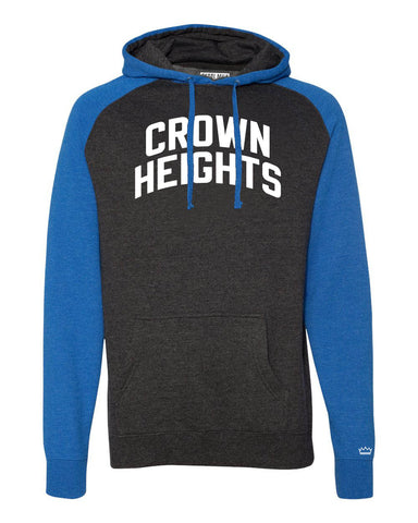 Blue/Grey Crown Heights Brooklyn Raglan Hoodie w/ White Reflective Letters