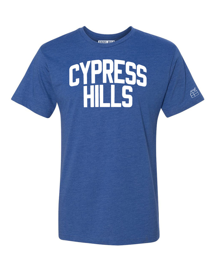 Blue Cypress Hills T-shirt with White Reflective Letters