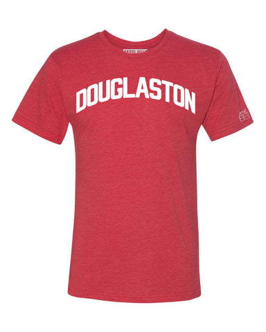 Red Douglaston T-shirt with White Reflective Letters