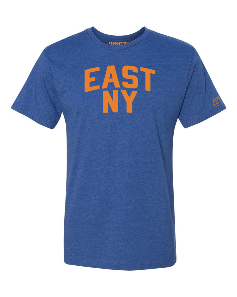 Blue East NY T-shirt with Knicks Orange Letters