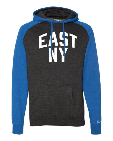 Blue/Grey East New York Brooklyn Raglan Hoodie w/ White Reflective Letters