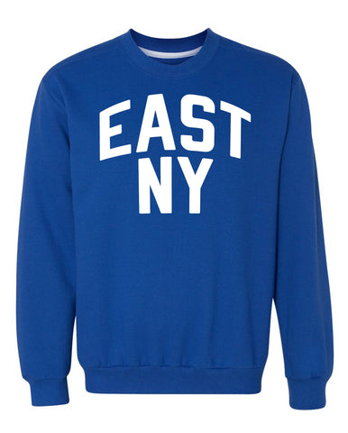 Blue East New York Sweatshirt with White Reflective Letters