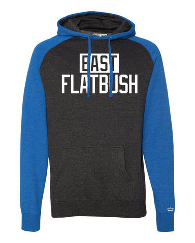 Blue/Grey East Flatbush Brooklyn Raglan Hoodie w/ White Reflective Letters