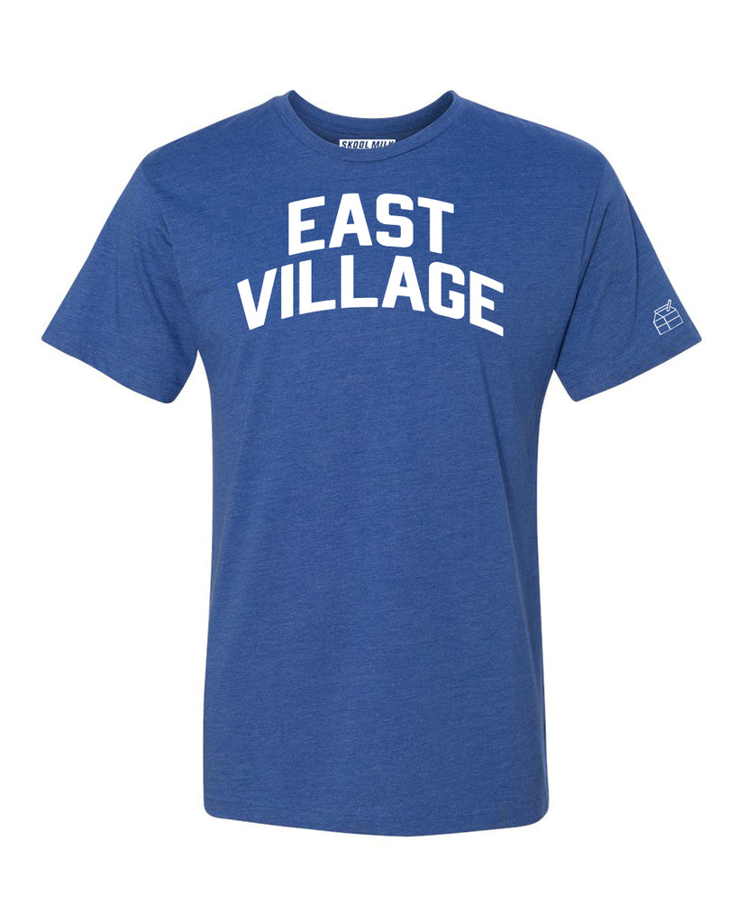 Blue East Village  T-shirt with White Reflective Letters
