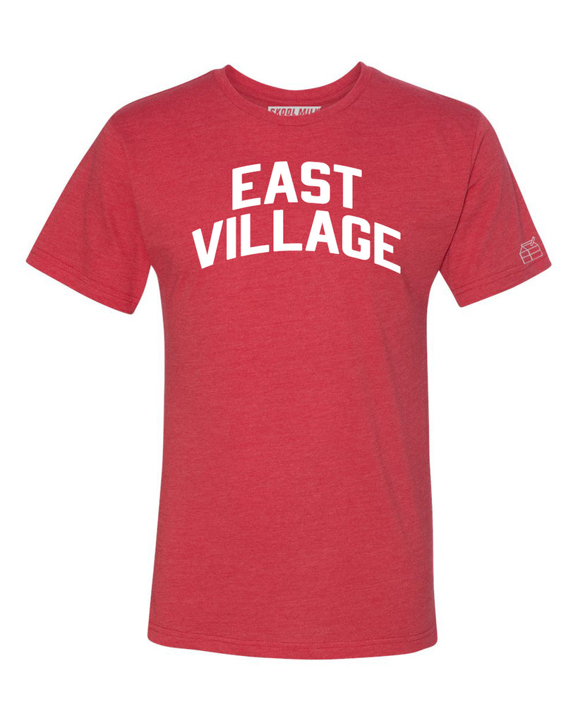 Red East Village T-shirt with White Reflective Letters