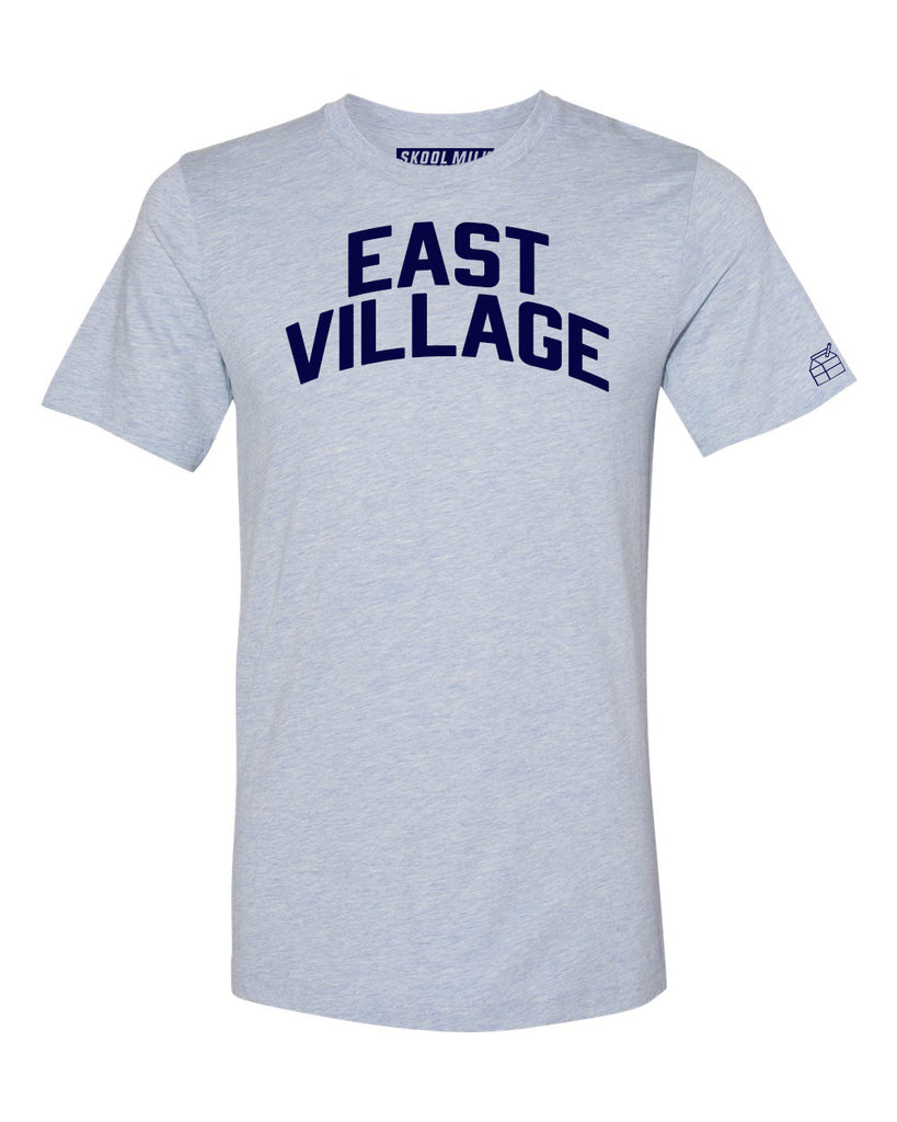 Sky Blue East Village T-shirt with Blue Letters